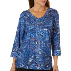 Gloria Vanderbilt Womens Teegan Paisley Jeweled Top