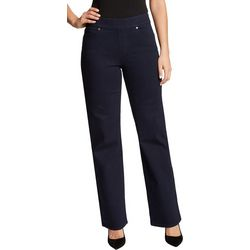 Womens Solid Wide Leg Pull On Pants
