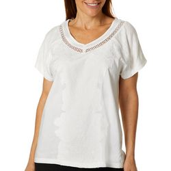 Gloria Vanderbilt Womens Adalyn Solid Embroidered Top