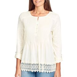 Gloria Vanderbilt Womens Gabriella Solid Crochet Trim Top