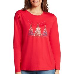 Gloria Vanderbilt Womens Christmas Trees Long Sleeve Top