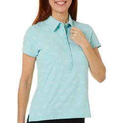 Gloria Vanderbilt Womens Annie Dolphin Print Polo Shirt