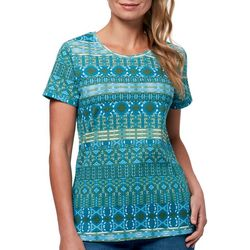 Gloria Vanderbilt Womens Margaret Geometric Print Top