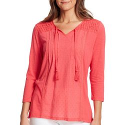 Gloria Vanderbilt Womens Ophelia Embroidered Top