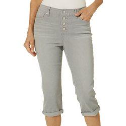 Womens Roll Cuff Cropped Capri Jeans