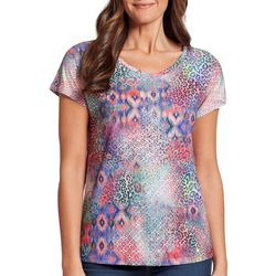 Gloria Vanderbilt Womens Opal Mixed Animal Embellished Top
