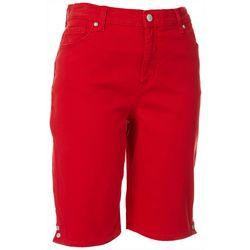 Gloria Vanderbilt Womens Solid Button Hem Bermuda Shorts
