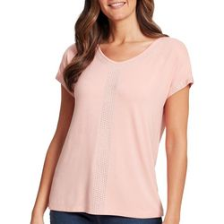 Gloria Vanderbilt Womens Opal Embellished Solid Top