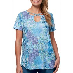 Gloria Vanderbilt Womens Cleo Patchwork Lattice Neck Top