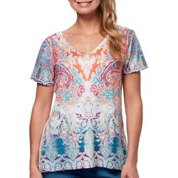 Gloria Vanderbilt Womens Melanie Patchwork Keyhole Back Top