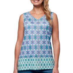 Gloria Vanderbilt Womens Kiera Geo Print Sleeveless Top