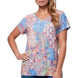 Gloria Vanderbilt Womens Opal Mixed Print Embellished Top