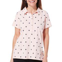 Gloria Vanderbilt Womens Annie Swan Print Polo Shirt