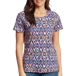 Gloria Vanderbilt Womens Ikat Print Top