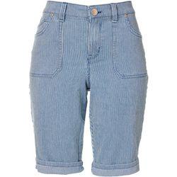 Gloria Vanderbilt Womens Stripe Mia Bermuda Shorts