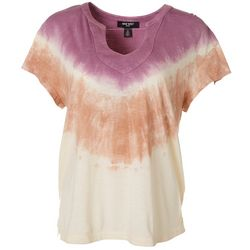 Nine West Womens Tie Dye Print V-Neck T-Shirt