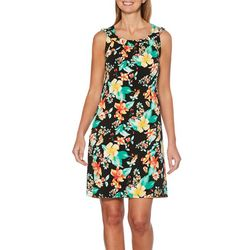 Rafaella Womens Reversible Tropical Floral Stripe Dress