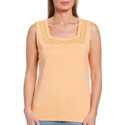 Rafaella Womens Squared Neck Solid Color Sleeveless Top