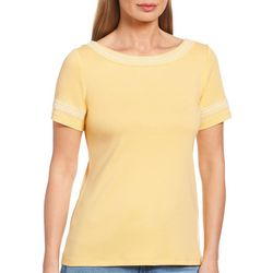 Rafaella Womens Embroidered Short Sleeve Top
