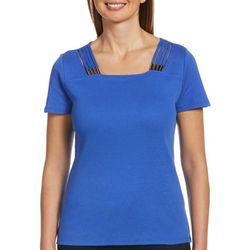 Rafaella Womens Solid Design Short Sleeve Top