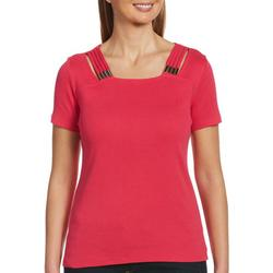 Womens Solid Design Short Sleeve Top