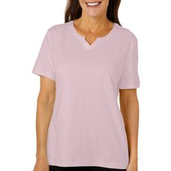 Coral Bay Womens Solid Split Neck Short Sleeve Top