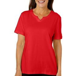 Womens Solid Split Neck Short Sleeve Top
