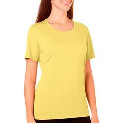 Womens Solid Crew Neck Short Sleeve Top