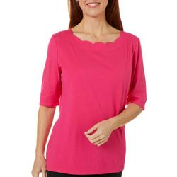 Womens Scalloped Boat Neck Solid Top