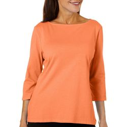 Coral Bay Womens Boat Neck Solid Top