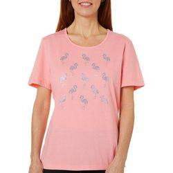 Womens Jeweled Mixed Flamingo Round Neck Top