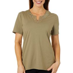 Coral Bay Womens Jeweled Floral Notch Neck Top