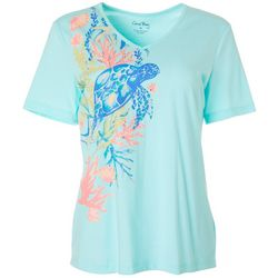 Coral Bay Womens Embellished Turtle Print V-Neck Top