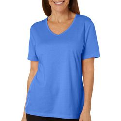 Coral Bay Womens Solid V-Neck Short Sleeve Shirt