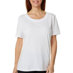 Coral Bay Womens Solid Braided Round Neck Short Sleeve Top