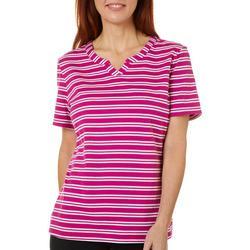 Womens Striped Split Neck Short Sleeve Shirt