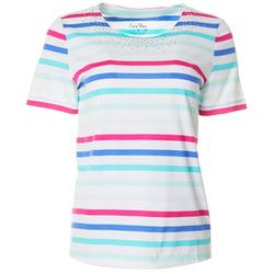 Coral Bay Womens Striped Jeweled Round Neck Short Sleeve Top