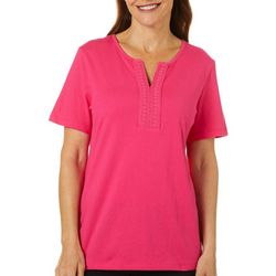Coral Bay Womens Solid Split Embroidered Neckline Top