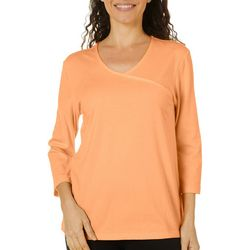 Coral Bay Womens Solid V-Neck Surplice Top