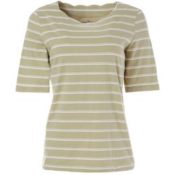 Coral Bay Womens Striped Elbow Sleeve Round Neck Top