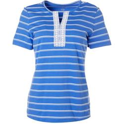 Womens Striped Embroidered Split Neckline Top