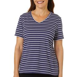 Womens Striped V-Neck Short Sleeve Top