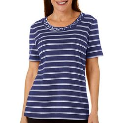 Coral Bay Womens Horizontal Stripe Braided Neckline Top