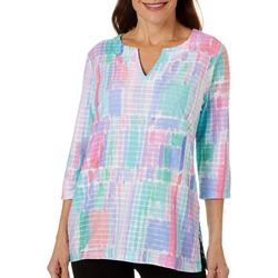 Womens Watercolor Print Split Neck Top