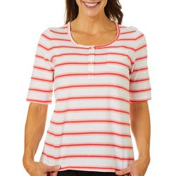Coral Bay Womens Striped Chest Pocket Short Sleeve Top