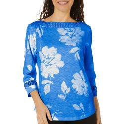 Womens Floral Print Crochet Trim Boat Neck Top