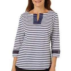 Coral Bay Womens Stripe Embroidered Split Neckline Top