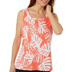 Coral Bay Womens Tropical Leaf Print Scoop Neck Tank