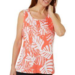 Womens Tropical Leaf Print Scoop Neck Tank
