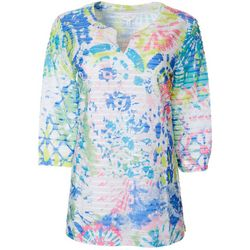 Coral Bay Womens Color Burst Print Textured Tunic Top